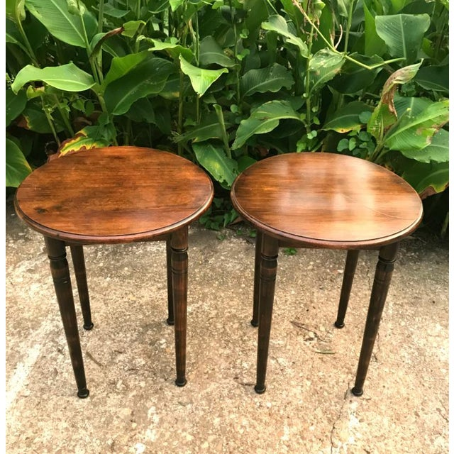 1990s French Country Solid Wood Round Side Tables - a Pair For Sale - Image 4 of 4