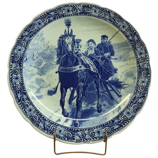 Plate, Petrus Regout Blue Delft Carriage Large For Sale