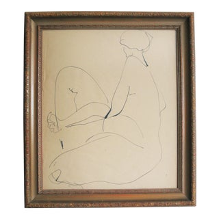 1970s Vintage John Tuska Study of Female Ink Drawing For Sale