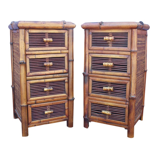Bamboo Wicker Chests of Drawers / Nightstands - a Pair - Image 1 of 8