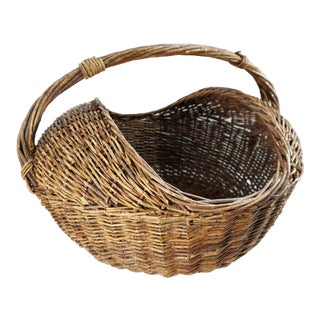 Vintage French Harvest Gathering Basket Large Round With Handle Aged Patina For Sale