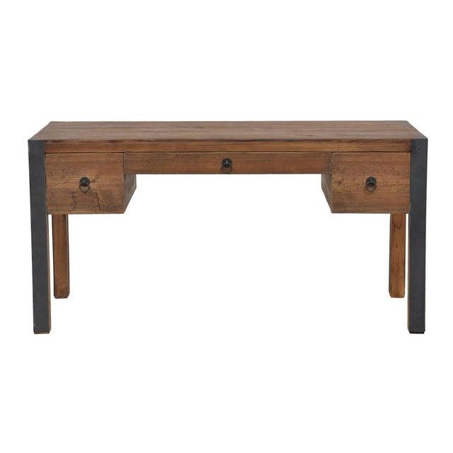 Reclaimed Wood & Iron Desk - Image 2 of 2