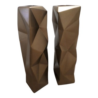 Contemporary Bronze Glaze Ceramic Origami Vases - a Pair