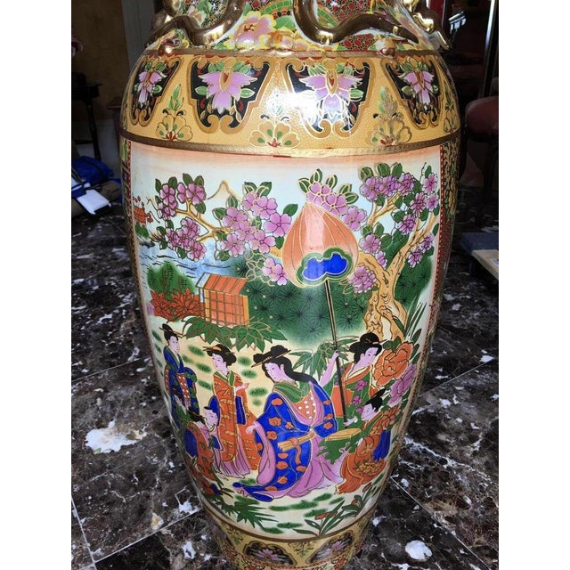 Beige Tall Chinese Vases with Decorative Scenes, 20th Century - A Pair For Sale - Image 8 of 13