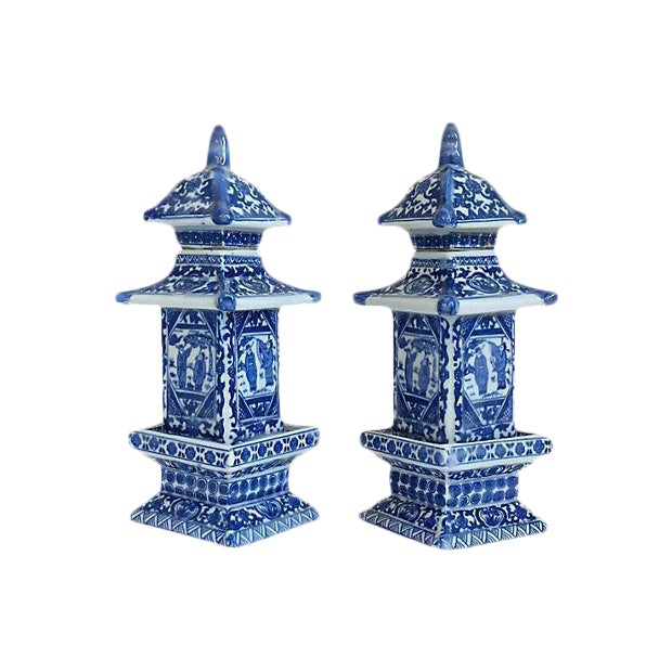 Chinese Blue & White Pagoda Jars - A Pair - Image 1 of 3