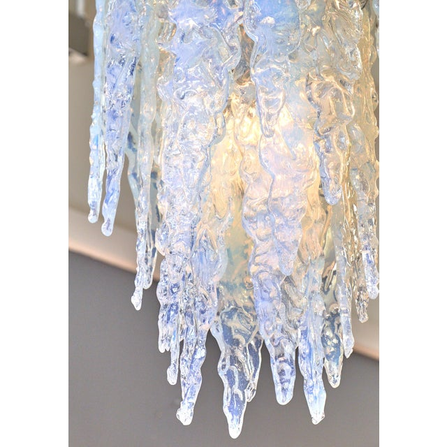 """Yellow """"Ghiacciolo"""" Murano Glass Iridescent Chandelier For Sale - Image 8 of 11"""