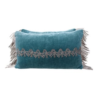 Pair of teal velvet metallic appliqued pillows