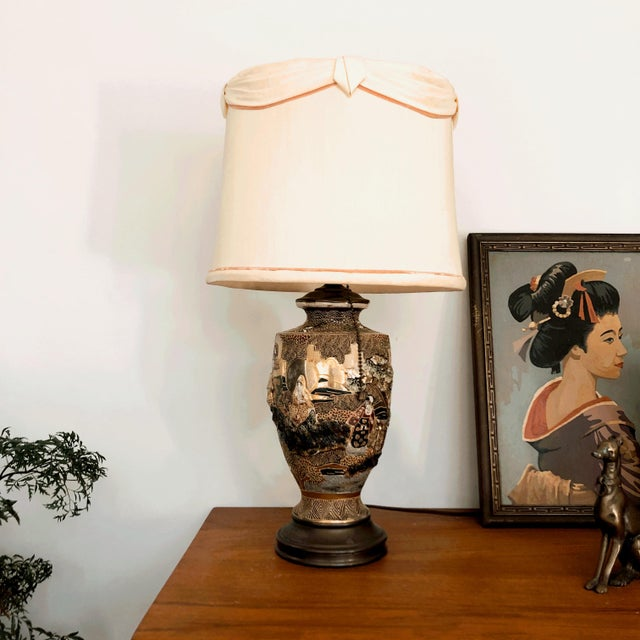 Japanese Satsuma Moriage Table Lamp For Sale - Image 13 of 13