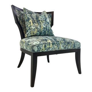 Hickory White Modern Blue and Green Abstract Accent Chair 4887-01 For Sale
