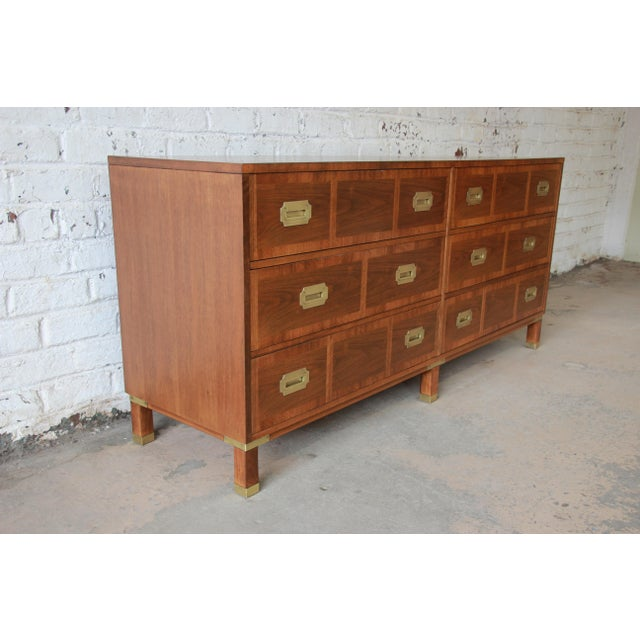 Brass Baker Furniture Milling Road Campaign Style Long Dresser or Credenza For Sale - Image 7 of 13