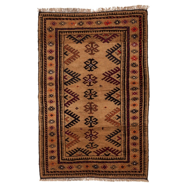 """1950s Turkish Wool & Camel Hair Area Rug - 40"""" x 62"""" For Sale - Image 4 of 4"""