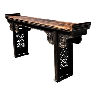 Antique Chinese Narrow Altar With Cloud Motif For Sale