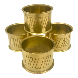 Solid Brass Engraved Friend Napkin Rings Set of 4 For Sale