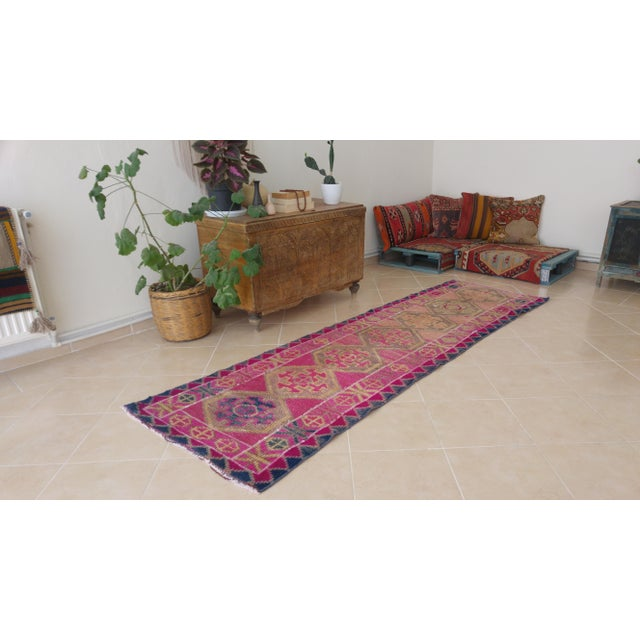 Islamic Vintage Pink Turkish Runner- 2'5'' X 8'3'' For Sale - Image 3 of 11