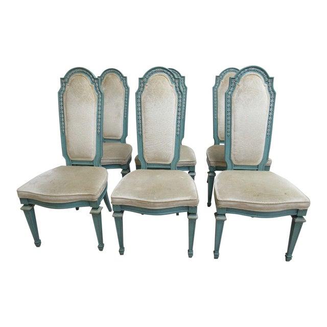 Vintage Baker Furniture French Regency Dining Side Chairs - Set of 6 For Sale