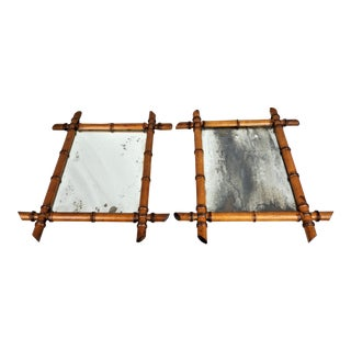 Antique French Faux Bamboo Mirror With Distressed Glass - a Pair For Sale