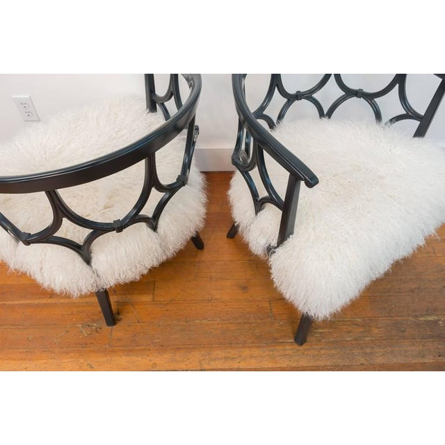Grey Lacquered Mongolian Sheep Seat Armchairs - a Pair - Image 6 of 9