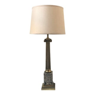 Mid 20th Century Brass & Marble Ionic Column Lamp For Sale