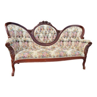 Vintage Victorian Medallion Tufted Floral Settee For Sale