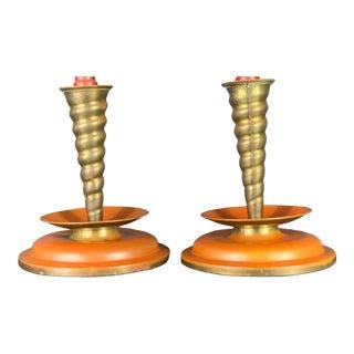 Vintage Art Deco Hollywood Regency Candles Sticks - a Pair For Sale