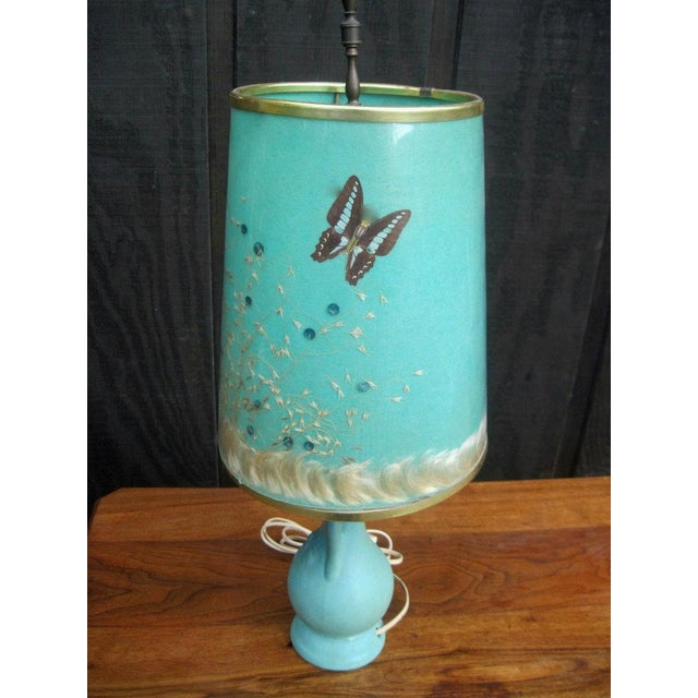 Van Briggle Turquoise Butterfly Lamp - Image 4 of 8