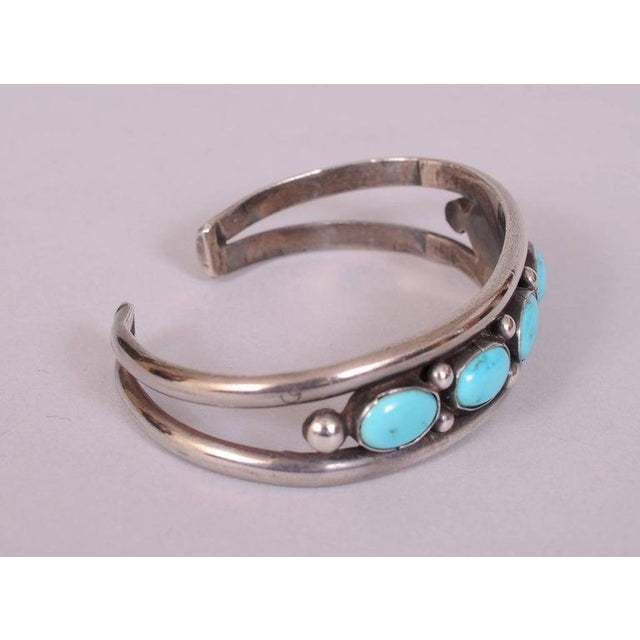 Native American Native American Silver and Turquoise Bracelet For Sale - Image 3 of 5