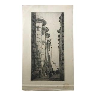 1920s Karnak Temple, Egypt Etching Print