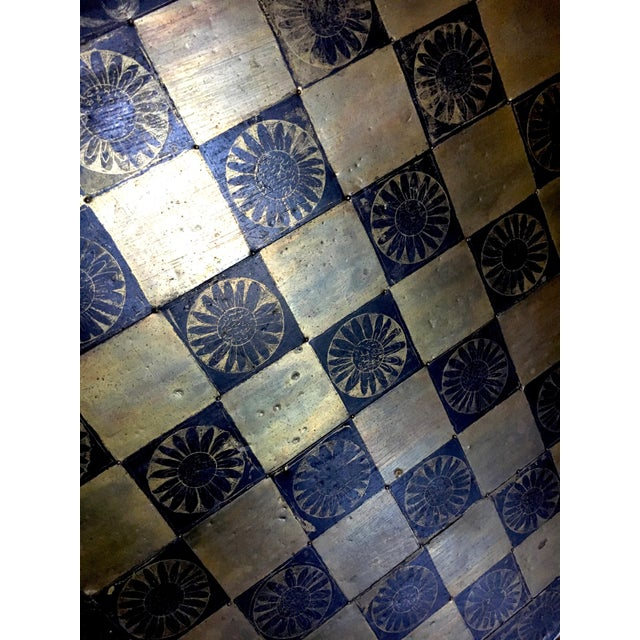 Metal Metal Mexaican Chess Board Table With Hand-Carved Wooden Chess Men For Sale - Image 7 of 8