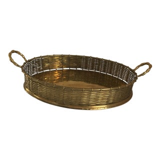 Brass Lattice-Weave Faux Bamboo Tray