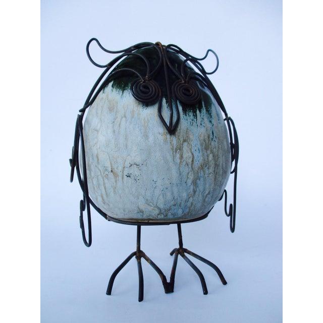 Ceramic Glazed Owl on Wire Stand - Image 2 of 10