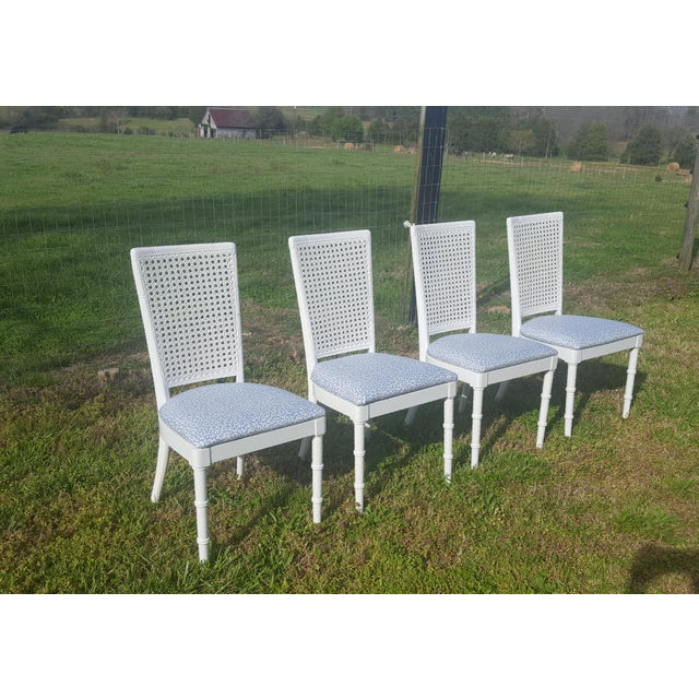 Set of 4 Gloss White, Caned Faux Bamboo Dining Chairs Reupholstered with Schumacher Polished Cotton Upholstery Fabric in a...
