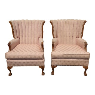 Pair Vintage French Provincial Mauve Tufted Channel Back Arm Chairs For Sale