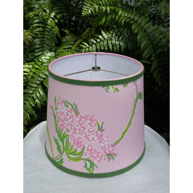 Shabby Chic Lilly Pulitzer Fabric Pink, Green Tapered Drum Lampshade For Sale - Image 3 of 12
