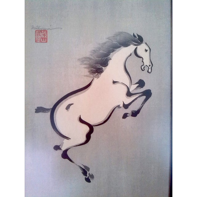 Asian Wakyosai Rearing Horse Japanese Ink Painting For Sale - Image 3 of 6