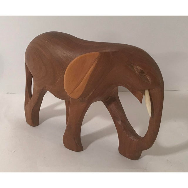 Vintage Wooden Carved Elephant For Sale - Image 10 of 10