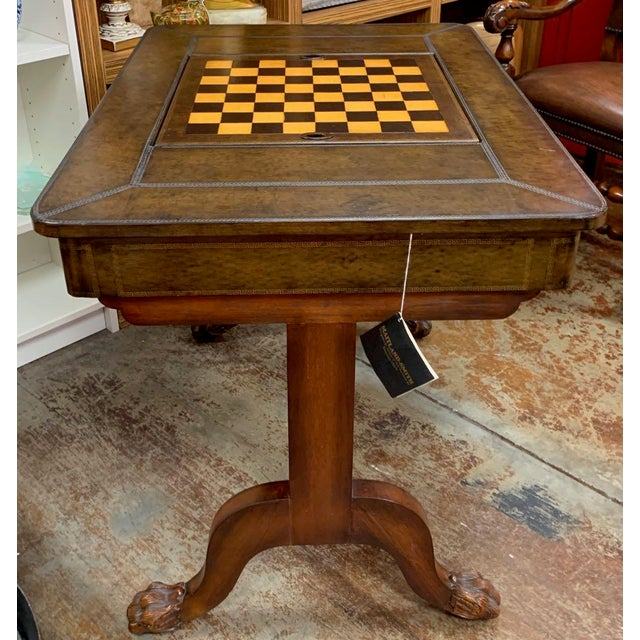 Wood Maitland-Smith Leather Game Table For Sale - Image 7 of 10