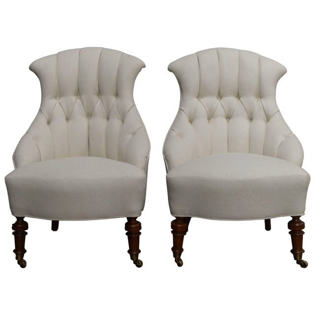 Pair of Vintage Swedish Emma Tufted Slipper Chairs, circa 1900's For Sale - Image 11 of 11