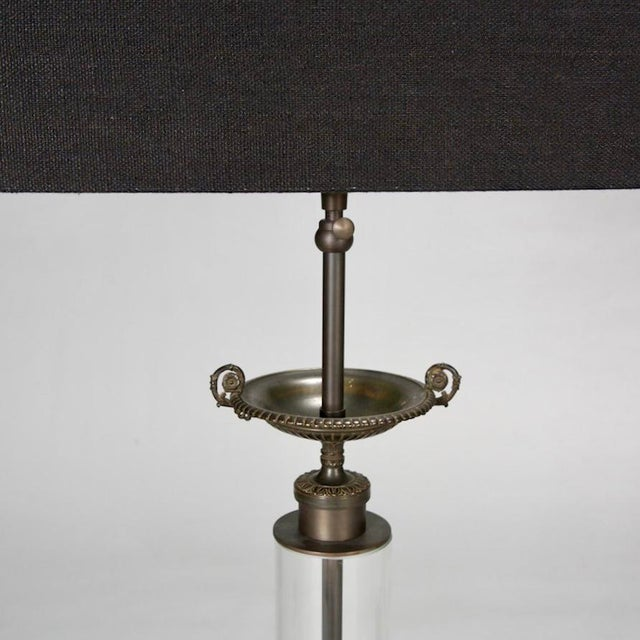Custom Belgian Glass Column Lamps With Bronze Fittings - Pair For Sale - Image 4 of 7