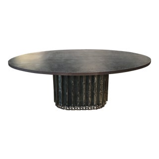 Industrial Metal Table With Found Conveyor Belt Base For Sale