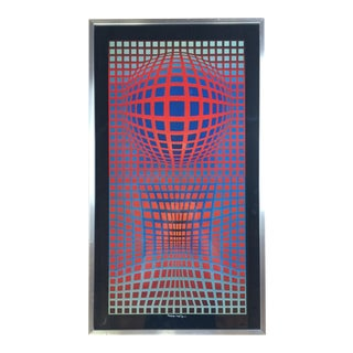Victor Vasarely Signed Op Art Silk Screen Print For Sale