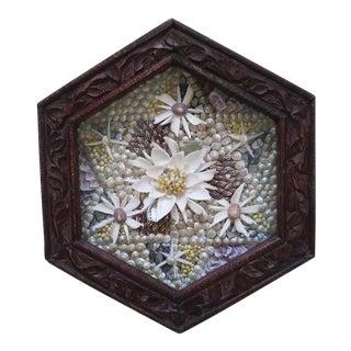 Sailor's Valentine Floral Sea Shell Motif in Wood Frame