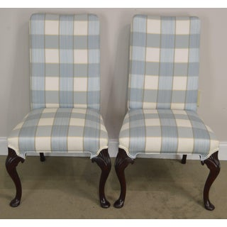 Hickory Chair Solid Mahogany Pair of Queen Anne Upholstered Side Chairs Preview