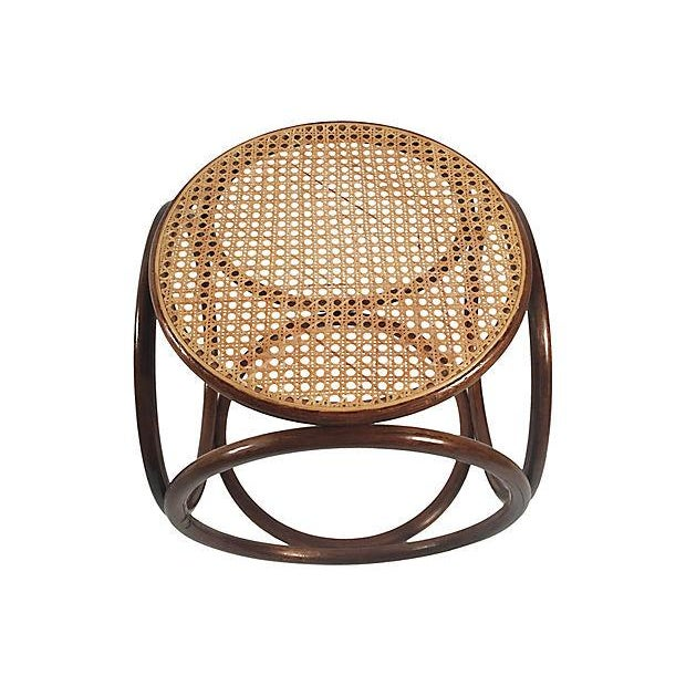 Mid 20th Century 1960s Bentwood Rattan Footstool For Sale - Image 5 of 7