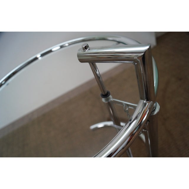 Eileen Gray Adjustable Chrome & Glass Side Table For Sale - Image 5 of 10