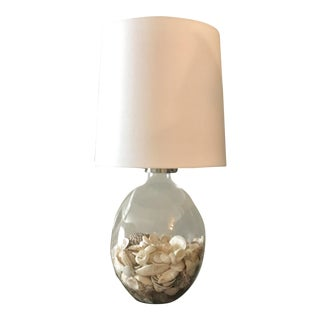 Large Shell Filled Clear Glass Table Lamp With Shade