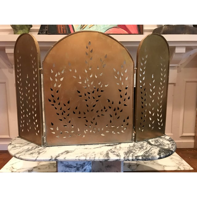 Metal Vintage Mid-Century Modern Metal Arched Gold Fireplace Screen For Sale - Image 7 of 7
