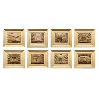Antique London Theater Aquatints - Set of 8 For Sale