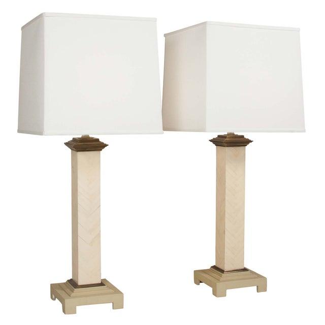 Maitland-Smith Chevron Column Lamps - A Pair - Image 1 of 8