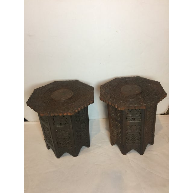 Brown 1950s Mediterranean Hand Carved Rosewood Inlaid Side Tables - a Pair For Sale - Image 8 of 13