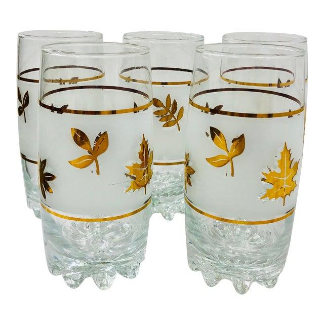 Vintage Mid-Century Gold Leaf High Ball Cocktail Tumbler Glasses - Set of 5 For Sale